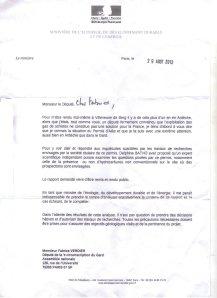 Lettre du Ministre Martin 29 08 2013